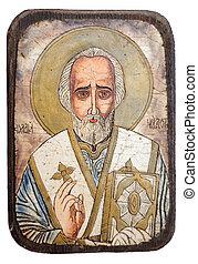 Saint Nicholas - Icon of Saint Nicholas isolatedon white...