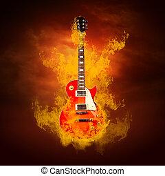 rocher, guitare, Flammes, brûler