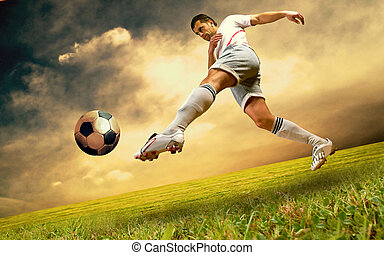 Happiness football player on field of olimpic stadium on...
