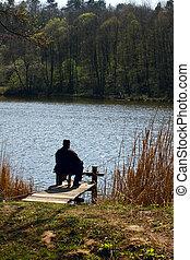 fisherman fishing on the lake