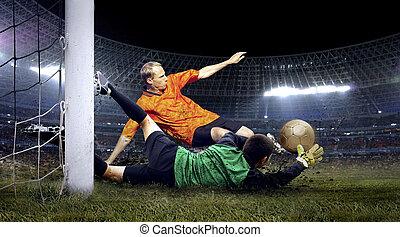 fútbol, jugador, salto, portero, campo, estadio,...