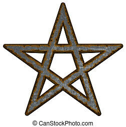 pentagram - rusty pentacle on white background - 3d...