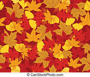 Autumn seamless pattern made of maple, ginko, sweet gum and...