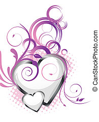 romantic greeting card - vector illustration of white hearts...