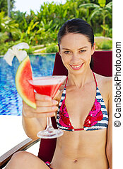 Woman with drinks outdoor