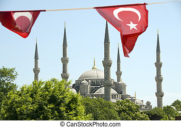 Blue Mosque with Turkish flags Istanbul