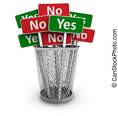 Voting concept: group of Yes and No signs in metal office...