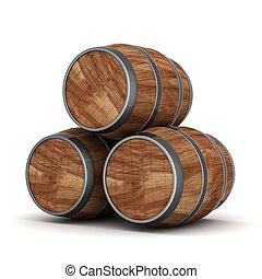 Wood barrel - image of the old oak barrels on a white...