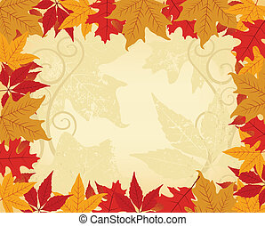 Autumn frame made of autumn leaves