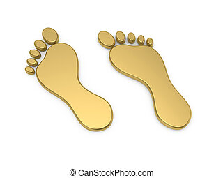 Golden steps - 3d render of golden steps icon isolated on...