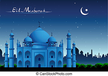 Taj Mahal - illustration of Taj Mahal in night view on eid...