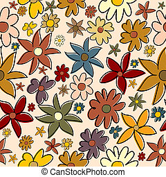 Seamless pattern with stylized flowers in autumn colors