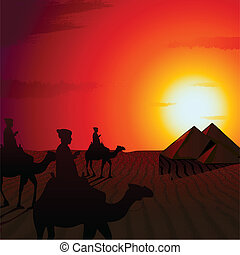 Sunset in Desert - illustration of people riding on camel in...