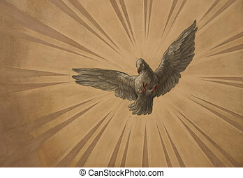 Dove on the sun rays background on the capital of St Charles...