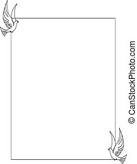 Dove Border BW - A beautiful dove frame in black and white,...