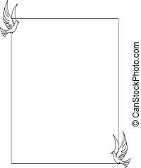 鴿, 邊框, bw