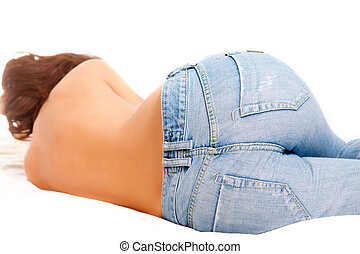 Back of girl in blue jeans