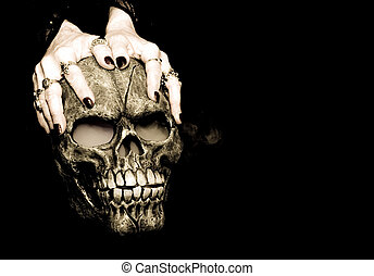 Hands and skull - A Halloween prop skull with fog coming...