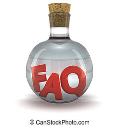 FAQ elixir - Red word FAQ in the bottle with transparent...
