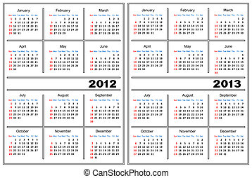 Calendar template - Template of a calendar of white color A...