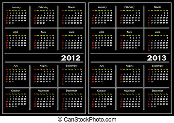Black calendar template - Template of a calendar of black...