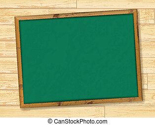 school blackboard - Empty school blackboard at wooden wall