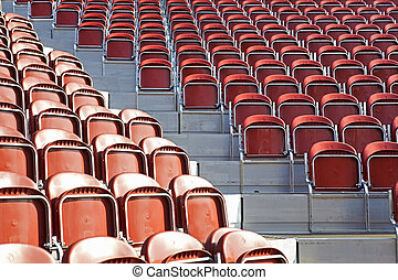 Empty stadium seats before a game.