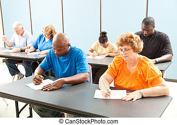Job Training - Testing - Diverse adult education class...