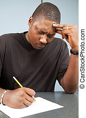Adult Student with Test Anxiety - African-american adult...