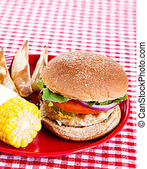 Tasty Turkey Burger - Delicious healthy turkey burger on a...