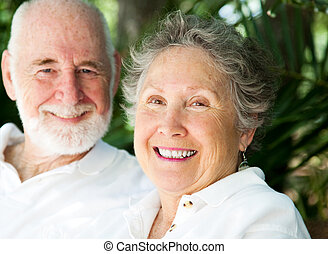 Happy Senior Woman with Husband - Portrait of a happy senior...