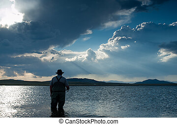 Fishing at Eleven Mile Reservoir, Colorado.