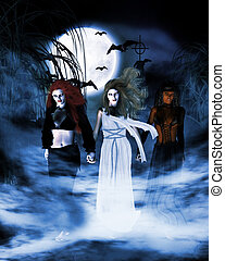 Sisterhood - fantasy drawing of 3 witches