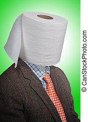 Toilet paper man - Toilet paper head man, with a tweed coat...