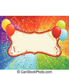 Birthday Card with balloons and confetti. RGB EPS 8 with...
