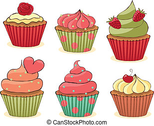 Sketchy Cupcakes Set - Sketchy yummy cupcakes set CMYK with...