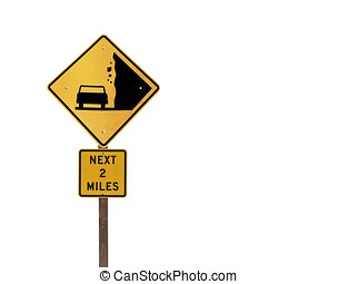 Falling Rock Sign Isolated