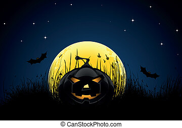 Halloween night background with pumpkin bats stars and moon