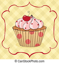 Yummy cupcake - Sketchy yummy cupcake card EPS 8 CMYK with...
