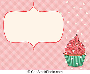 Celebration Card - Pink celebration card with cupcake and...