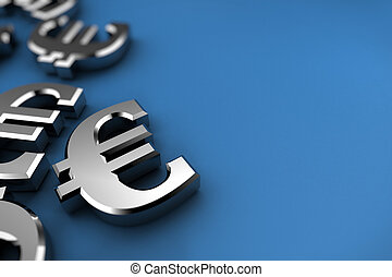 Silver Euro - Euro concept with silver dollar symbols over...