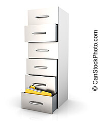 Archive - Filing Cabinet - 3D rendered Illustration. A...