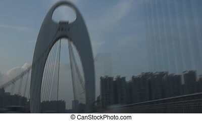 Driving at downtown street in Guangzhou city, China