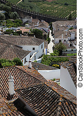 Obidos rooftop view - A view across the roof tops on the...