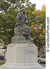 bronze statue of Nathaniel Hawthorne, - bronze statue of...