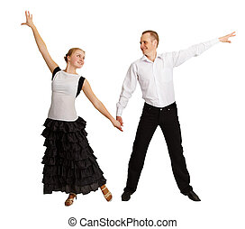 Young people perform ballroom dance isolated on white...