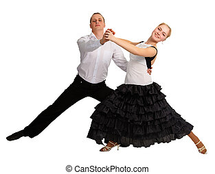 Young people dancing isolated on white background