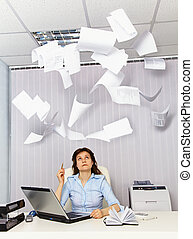 Office worker and annoying documentation - An office worker...