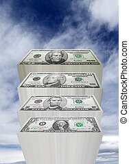 The sky is the limit - Stacks of money rise up into the sky.