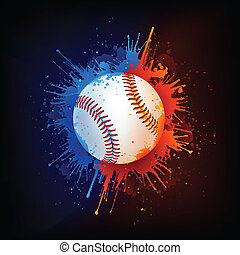 Baseball Ball on Fire and Water Paint. Vector.